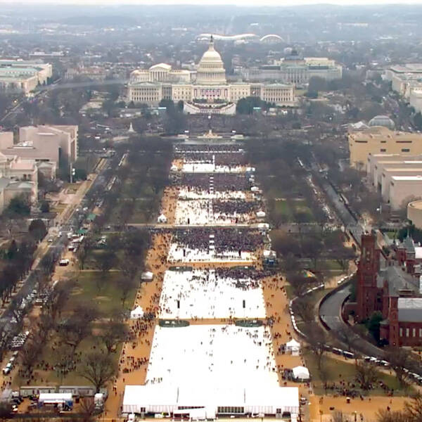 """Alternative facts"" indicate Trump's inaugural crowd in 2017 (left) was far bigger than Obama's in 2009 (right)."