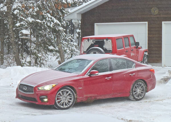 When a blizzard hit Duluth, the Infiniti Q50 was positively Jeep-like with its AWD. Photo credit: John Gilbert