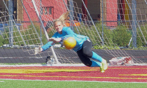Wisconsin-Parkside goalkeeper Adrianna Bratel tried to block Madison Carey's pass that resulted in UMD's third goal. Photo credit: John Gilbert