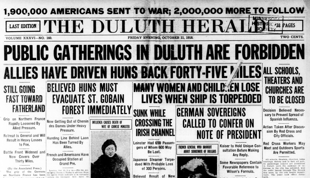 The front page of the Oct. 10, 1918, Duluth Herald treats the arrival of the flu as big as World War I.