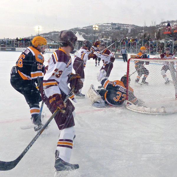 Denfeld rallied from a 1-0 deficit to beat Eveleth-Gilbert 5-2 in Saturday's first Hockey Minnesota Day game. Photo credit: John Gilbert