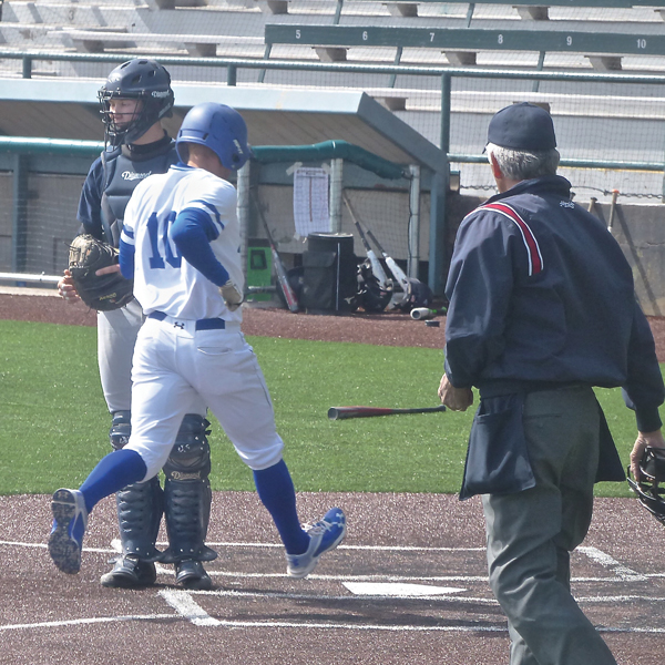 Senior Austin Colvard had a 23-game hitting streak halted last week, but he started a new one and scored a run against North Central as St. Scholastica swept their home opening doubleheader 14-1 and 21-1. Photo Credit: John Gilbert