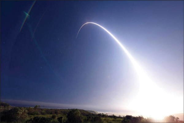 Pictured: For the second time in less than a week this past February, crews from Minot Air Force Base conducted a test launch of a Minuteman III missile. The rockets flew 4,500 miles across the Pacific from the Vandenberg Air Force Base in California. Three recent North Korean missile test launches reportedly failed.