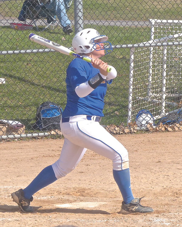 Nikki Logergren homered and hit three doubles in St. Scholastica's sweep over Crown. Photo credit: John Gilbert