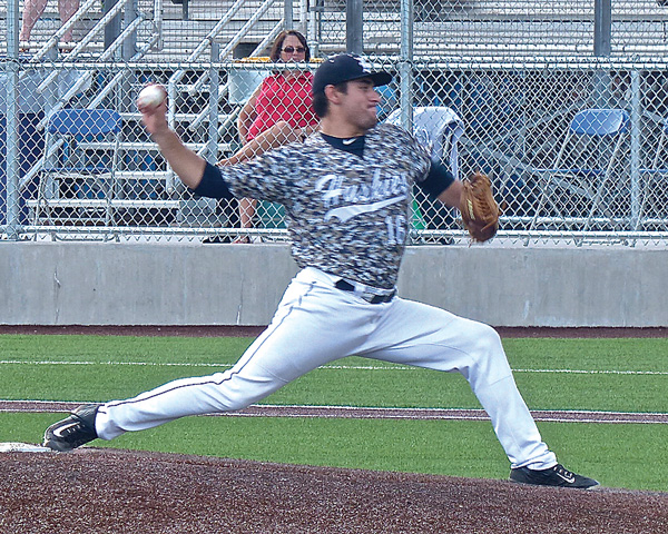 Reliever Trevino Rodriguez found that camouflage jerseys didn't make him invisible against the St. Cloud Rox. Photo credit: John Gilbert