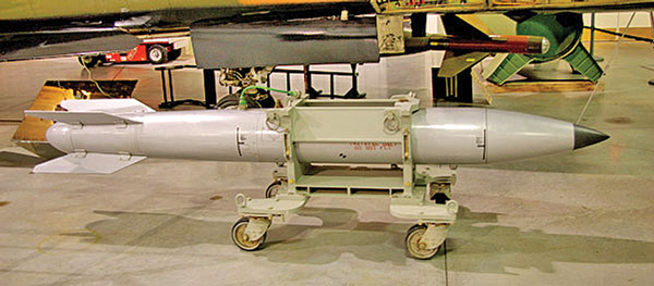 The USAF B61 gravity bomb, above, is still used at NATO bases in Italy, Germany, the Netherlands, Belgium and Turkey. The 50-90 bombs at Turkey's Incirlik air force base have no jets that can carry them.