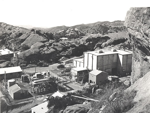 At the Santa Susana Field Laboratory, 30 miles from Los Angeles, Rocketdyne Corp. dumped radioactive wastes and toxic chemicals during decades of tests with nuclear reactors and rocket engines. The Sodium Reactor Experiment, pictured in 1958, ran out of control and melted in July 1959, ending the program. Photo: rocketdynecleanupcoalition.org/photos