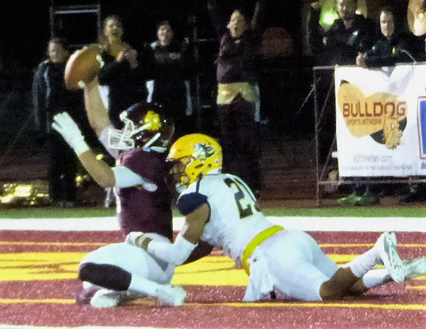 Nate Ricci came up with Drew Bauer's 46-yard game-winning touchdown pass with 1:27 remaining. Photo credit: John Gilbert